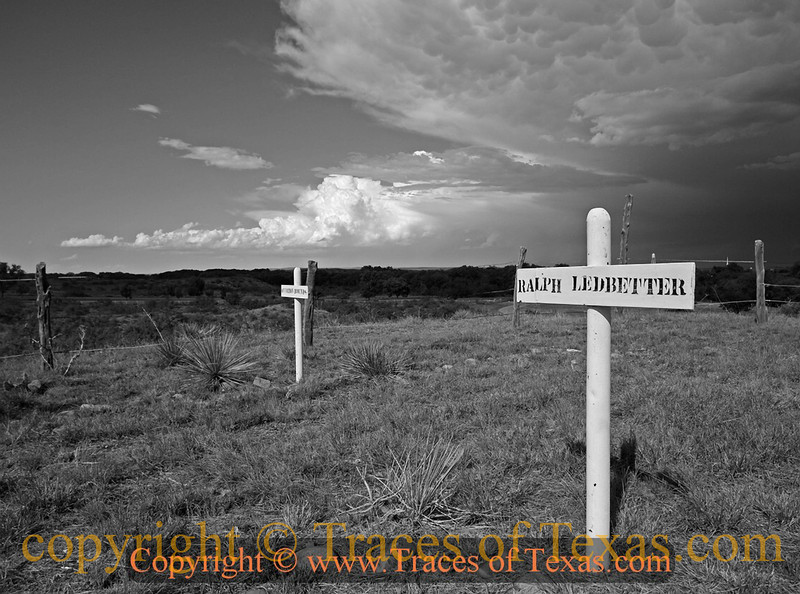 Title:   Old Tascosa<br /> <br /> Comments: The Boot Hill Cemetary near Old Tuscosa is one of those old cemeteries in which it seems like everybody was killed by somebody else buried in the cemetery. Black and White version.<br /> <br /> Location: Old Tuscosa, Texas