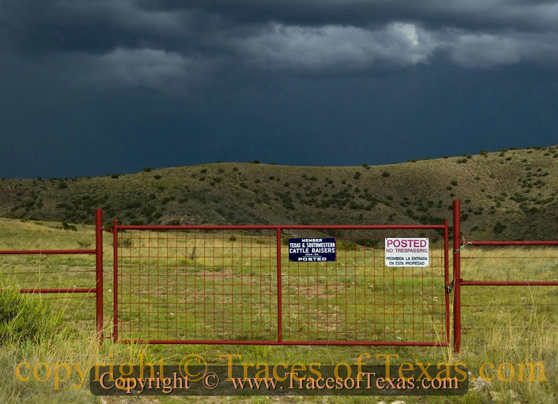 """Title: If The Storm Doesn't Kill You, The Rancher Will  <br /> <br /> Comments: Mark Twain said that """"a man who holds a cat by the tail learns a lesson he can learn in no other way.""""  The Texas version of that is """"a man who crosses onto another man's property when it is clearly posted no trespassing learns a lesson he can learn in no other way.""""<br /> <br /> Location:  Chinati Mountains"""
