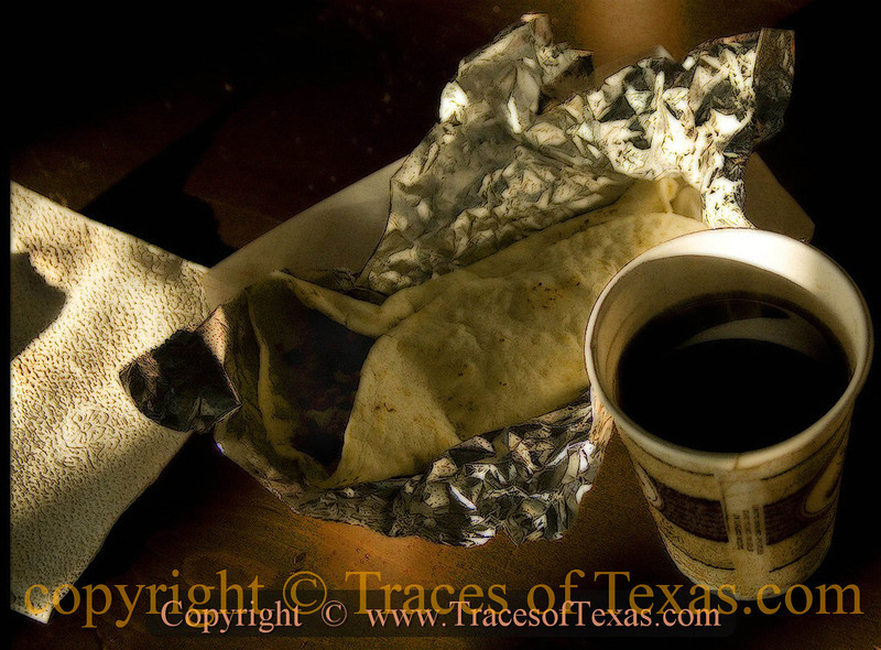 Title:   Is it So Wrong to Worship One's Breakfast?<br /> <br /> Comments: The breakfast burrito and black coffee at the Salt Flat Cafe in Salt Flat is food for the Texan soul.<br /> <br /> Location: Salt Flat