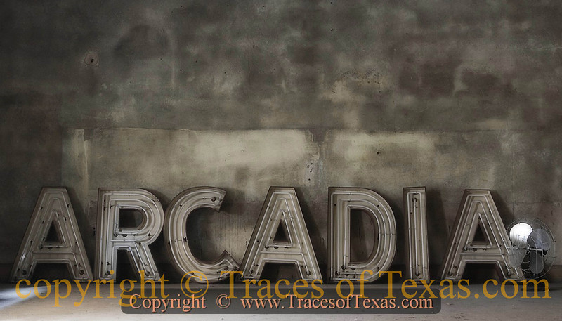 """Title:   Arcadia<br /> <br /> Comments: The old Arcadia theater in Temple closed about 25 years ago. It was in a state of slow decay until the city stepped up and replaced the roof. They were nice enough to let me in to the projection room, where I found part of the old sign.  It's another """"Last Picture Show"""" entrant. <br /> <br /> Location: Temple, Texas"""