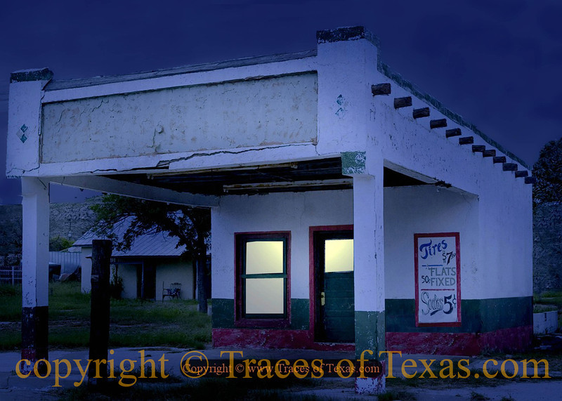 Title:   Sodas 5 Cents<br /> <br /> Comments: Old gas station with signs still intact.<br /> <br /> Location: Sanderson