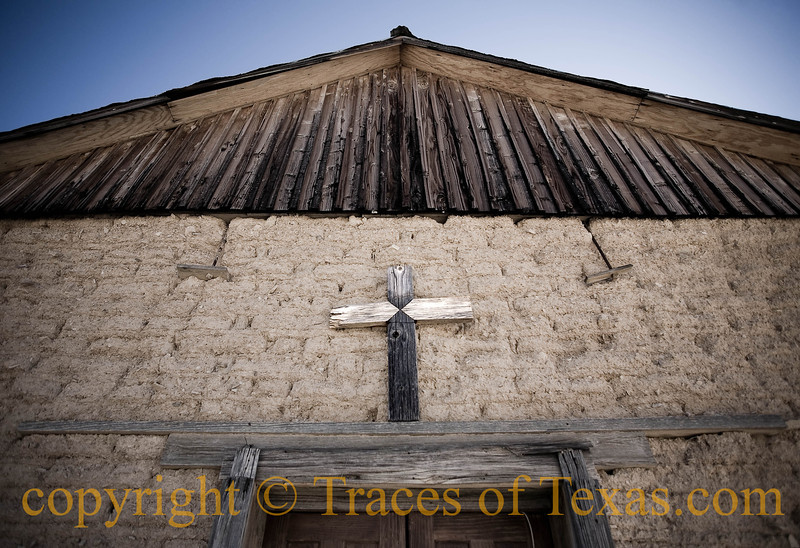 Title:   Sign of Simple Faith<br /> <br /> Comments: The only church in Terlingua (population 267) is, of necessity, non-denominational. I'm told that everybody from Hindus to American Indians so Southern Baptists have held religious ceremonies within its walls.  Perhaps salvation lies along many paths.<br /> <br /> Location: Terlingua
