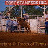 Title:  Everybody Wears a White Hat<br /> <br /> Comments: The Post Stampede Rodeo is truly one of Texas' great spectacles. I've been noticing that white hats out-number black hats about 8 to 1 at rodeos these days. I've been pondering the reason why. Guess nobody wants to be an outlaw in hard economic times.<br /> <br /> Location: Post