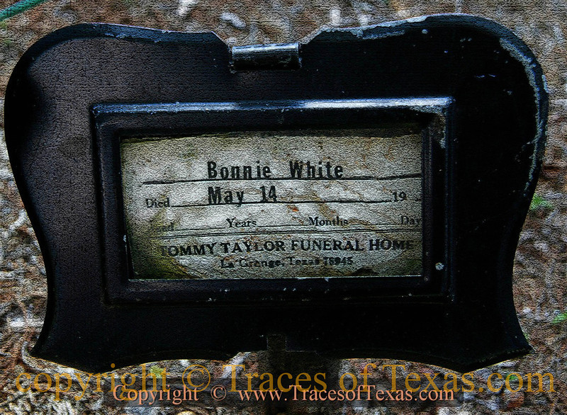 Title:   Dust in the Wind: A Pauper's Grave in Central Texas<br /> <br /> Comments: I'm guessing that nobody remembers Bonnie White or knew anything about her. That's why I put this photo here, to commemorate a life that has passed. <br /> <br /> Location: West Point, Texas