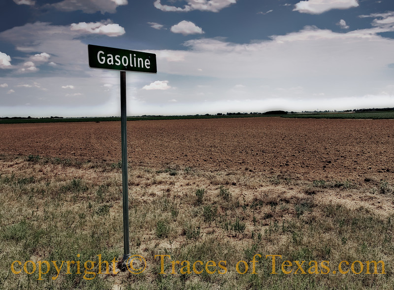"Title: Gasoline, Texas ... Population 6.<br /> <br /> Comments:  <br /> <br /> Gasoline, in southeastern Briscoe County, is on the site of an early line camp for cowboys. In 1903 several farm families built their homes in the vicinity, and they later drilled a water well on the site. Gasoline received its name from the gasoline engine that powered the community's cotton gin, built in 1906 or 1907. At that time such a power source was a novelty in the Panhandle. <br /> <br /> M. E. Tomson, who managed the gin, opened the community's first store and established a post office there in 1907. The next year W. A. Smith began a hardware and farm-implement business. A one-room school opened in 1908, was expanded to four rooms by 1920, and had four teachers and eleven grades by 1929. In its early years Gasoline had a drugstore, a blacksmith shop, a barbershop, and a cafe. Local church members met in the schoolhouse until it was torn down in 1926, when a new community building was built. Electricity replaced the town's kerosene lamps and carbide lights in 1929, but for years Gasoline had only one phone. A local literary society staged plays, and sports such as baseball and volleyball also supplied entertainment. <br /> <br /> The gin, the hub of the community, burned down in 1938 and was never rebuilt. In 1940 Gasoline reported twenty residents, and in 1946 its school district merged with the nearby Quitaque district. Gasoline's post office was discontinued in 1948. During the mid-1980s there remained several old farmhouses and the community building, in which yearly homecomings were held. <br /> <br /> In 1990 a Texas Historical Marker honoring the cotton gin was erected. By 2000, though the community was still shown on county maps, only a few scattered homes marked the site. It is estimated that the current population is six people.<br /> <br /> Source: H. Allen Anderson, ""GASOLINE, TX"", Handbook of Texas Online:  <a href=""http://www.tshaonline.org/handbook/online/articles/hrg07"">http://www.tshaonline.org/handbook/online/articles/hrg07</a><br /> <br /> <br /> Location: Gasoline"