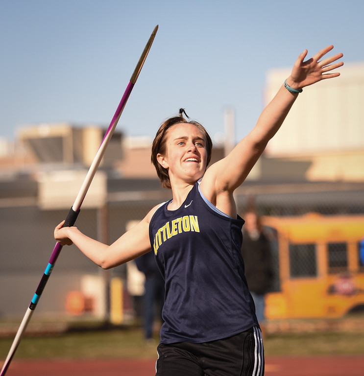. Littleton javalin thrower, Brianna Levasseur, throws 89 feet Monday afternoon against Ayer Shirley. Photo: SUN/Scot Langdon
