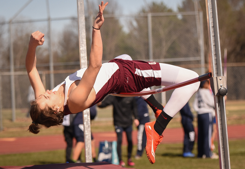 . Ayer Shirley Sophomore, Mason Casavecchia,  clears the 5 foot high jump Monday afternoon against Littleton.  Photo: SUN/Scot Langdon