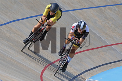 Kendrick Boots of SCAD, left, and Andrej Strmiska of Midwestern State University race at the USA Cycling Collegiate Track National Championships at Giordana Velodrome in Rock Hill, S.C., on Friday, Sept. 13, 2019.