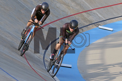 Tyler Curtis of Lindenwood University at William Bobrow of Marian University race at the USA Cycling Collegiate Track National Championships at Giordana Velodrome in Rock Hill, S.C., on Friday, Sept. 13, 2019.
