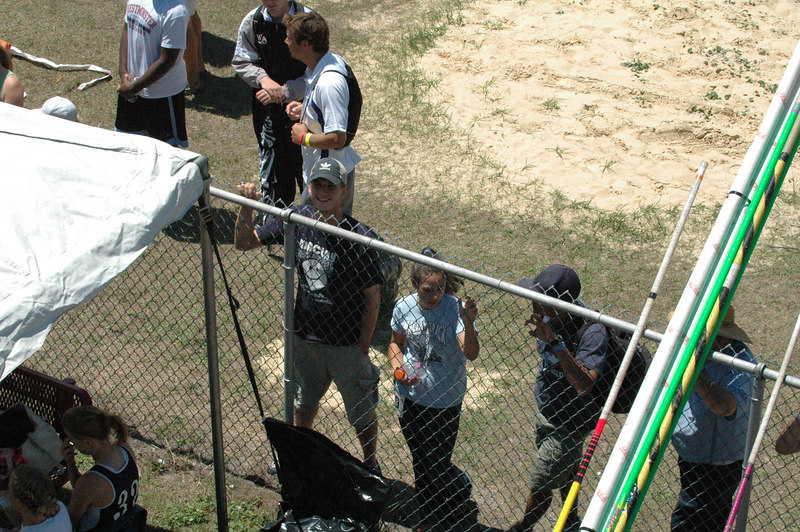 Photo angles will be difficult without a press pass. I head up high near the pressbox. Here's a look over the west fence at some PV fans.
