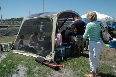 The kids set up their luxury accomodations outside the track facility's north fence.