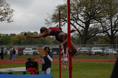First, I owe a special thanks to Brittany (w/clipboard) for working the HJ competition!  That's Florida High's Dorian Corbett, eventual winner of the Girls' competition at 5' 2""