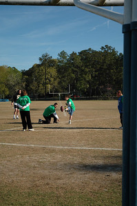 Some of the gang warms up by kicking a few field goals in my direction.