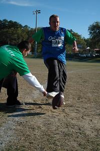 Cameron Massa demonstrates his leg cannon.