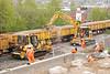 Bulldozer <br /> <br /> Komatsu D41P <br /> <br /> Fleet # 4726<br /> <br /> Euro # 914005-2<br /> <br /> & <br /> <br /> Road Railer <br /> <br /> Komatsu PC138 <br /> <br /> Fleet # 6559 <br /> <br /> Euro # 911023<br /> <br />  gets ready to drop another load of bedding stone
