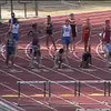 Sarah Player winning 100 meter hurdles at league finals.