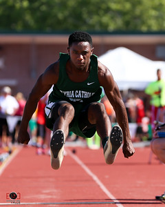 Elyria Catholic Daryl Davis in the long jump at the Ohio State  track meet Friday June 2. photo Joe Colon