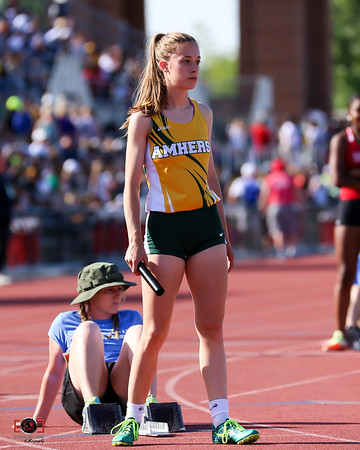 Amherst Gracen Siegenthaler mentally prepares herself for the start of the 4x200 prelims race. Amherst did not make it to the finals.  photo Joe Colon