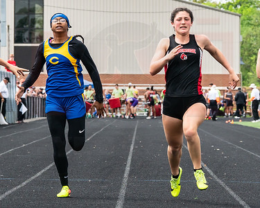 Brookside Madissyn Valdez edges out Clearview Alyzabeth Lighty in the 100m finals at the Orville Districts, Valdez and Lighty go second and third to move on to next week regionals.  photo Joe Colon