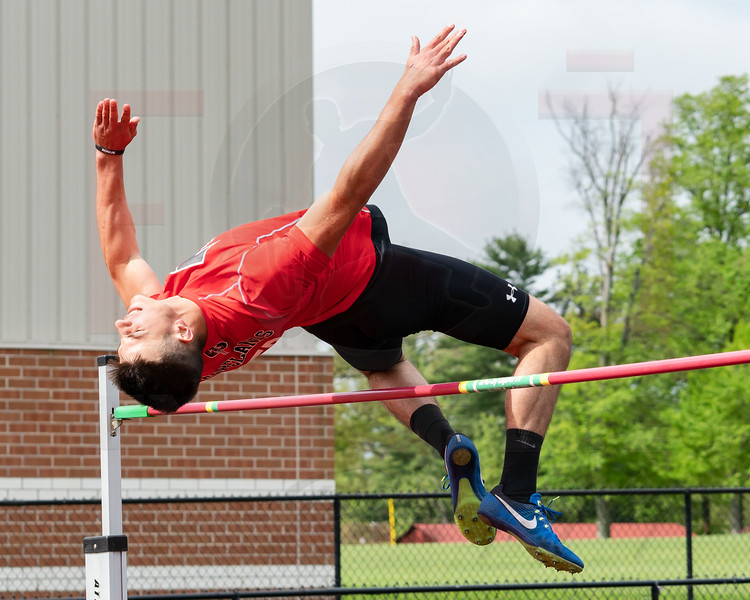 Firelands Blake Ruffner winner of the high jump at the Orrville Districts Saturday May 19.  photo Joe Colon