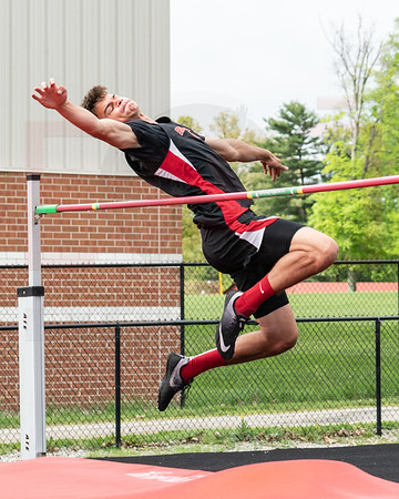 Brookside Tristen Ness with his attempt in the high jump at the Orrville District finals Saturday May 19.  photo Joe Colon