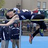 Littleton High School sophomore thomas Neary competes in the high jump at the meet held at Lunenburg Middle High School on Saturday afternoon. SENTINEL & ENTERPRISE/JOHN LOVE