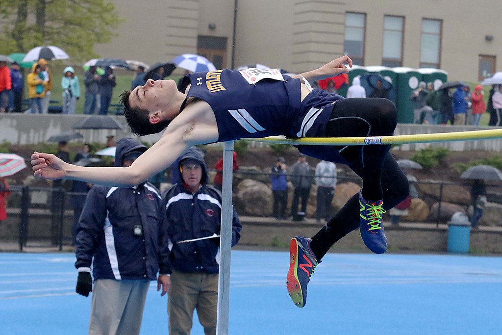 . Littleton High School sophomore thomas Neary competes in the high jump at the meet held at Lunenburg Middle High School on Saturday afternoon. SENTINEL & ENTERPRISE/JOHN LOVE