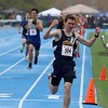 Littleton High School sophomore Alex Johnson may not have won his heat of the 1 miles at the meet held at Lunenburg Middle High School on Saturday afternoon but he sure was happy with his ran and showed that when he crossed the finish line. SENTINEL & ENTERPRISE/JOHN LOVE
