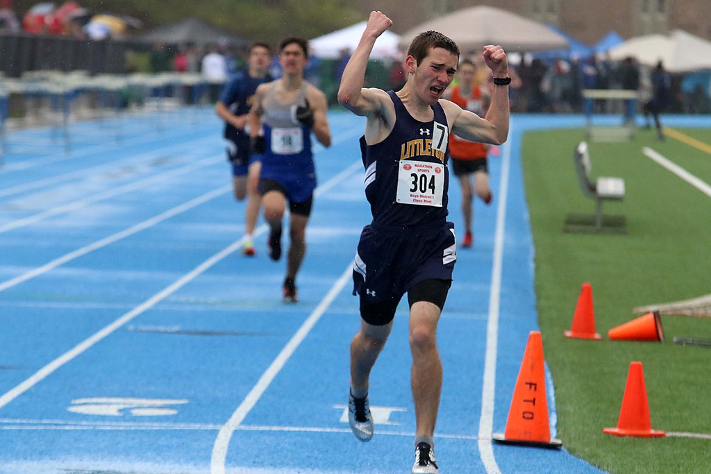 . Littleton High School sophomore Alex Johnson may not have won his heat of the 1 miles at the meet held at Lunenburg Middle High School on Saturday afternoon but he sure was happy with his ran and showed that when he crossed the finish line. SENTINEL & ENTERPRISE/JOHN LOVE