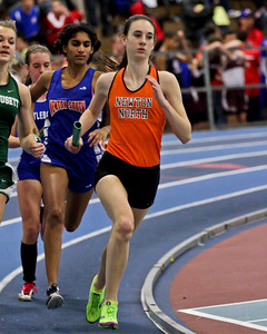 Meghan Bellerose leads the pack in the sprint medley relay relay at the MSTCA Division 1 State Relays on January 21st.  Meghan combined with Sonja Lehman, Maeve Larkin, and Madison Nadeau to take 1st place.