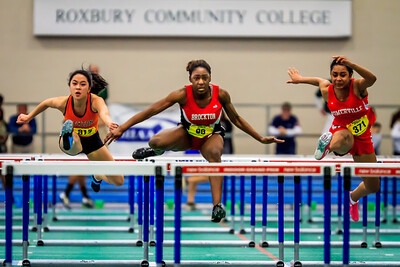 Vanessa Clerveaux sets a new D1 State Meet record of 8.05 winning the 55m hurdles.