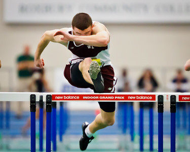 Brendan Sullivan clears the final barrier in the 55m hurdles trials at the 2012 Mass. Division 1 State Championships held in Boston on February 19th.
