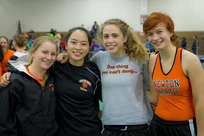 Steph Brown, Kayla Wong, Kayla Prior, and Sonja Lehman combined to set a new state record in the 4x50m shuttle hurdle relay at the MSTCA division 1 state relays on Saturday at the Reggie Lewis center.