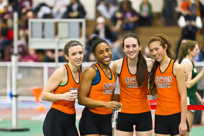 Madison Nadeau, Carla Forbes, Meghan Bellerose and Isabella Reiley combined to win the 4x400m relay at the MSTCA Division 1 State Relays at the Reggie Lewis Center on Saturday.