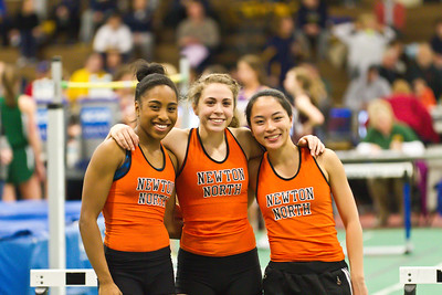 "(l-r) Carla Forbes, Kayla Prior, and Kayla Wong, won the 2012 MSTCA Division 1 Long Jump relay, breaking the meet record with a total jump of 49'4.25""."