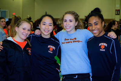 Steph Brown, Kayla Wong, Kayla Prior, and Carla Forbes combined to set a new state record in the 4x50m  relay at the MSTCA division 1 state relays on Saturday at the Reggie Lewis center.