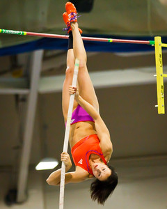 Jenn Suhr inverts for a new American Record 16 feet at the New Balance Indoor Grand Prix at the Reggie Lewis Center in Boston February 4th.
