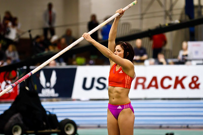 USA Pole Vaulter Jenn Suhr moments before setting the indoor American Record of 16 feet in the Pole Vault at the New Balance Indoor Grand Prix in Boston on February 4th. Suhr won the Olympic gold won Monday August 6th in London.