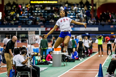 2011 USA Youth National team member Carla Forbes warms up forl long jump at New Balance Indoor Nationals.