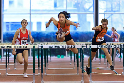 Newton North's Kayla Wong wins her trial heat in the 55m hurdles at the Dartmouth Relays in January