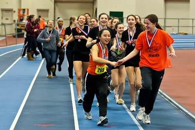 Newton North girls victory lap after winning 2012 Indoor D1 State Open