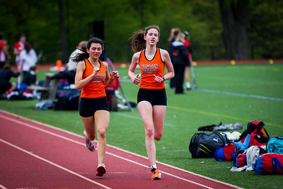 Newton North runners compete in the 2 mile at the Newton North vs. Brookline dual meet.