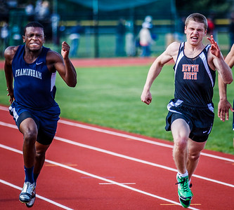 Ryan Lucken leads the 100m field against Framingham