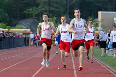 Evan Sternstein of Brookline leads a Brookline/Wellesley sweep of the top 4 spots in the Bay State Conference Championship 800m.