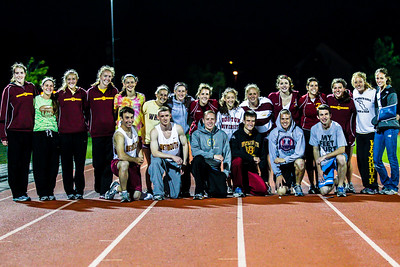 Weymouth seniors celebrate their final meet on the Weymouth track after hosting the 2012 Bay State Conference Championships.