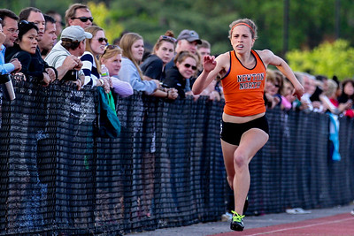 Newton North's Kayla Prior in the 100m trials at the Bay State conference championships