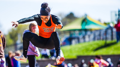 Carla Forbes on way to a triple jump relay record in cold weather at the 2012 MSTCA D1 State Relays