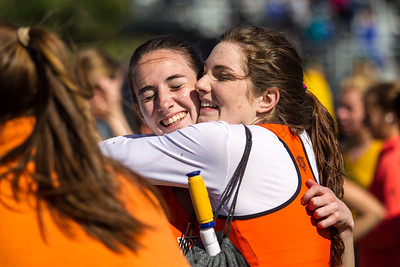 Meghan Bellerose and Miller Touhy celebrate Newton North's victory in the 2012 MSTCA Outdoor D1 State Relays