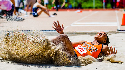 """Carla Forbes lands the longest long jump of 2012 -- 20'3"""" at the MSTCA Invitational."""
