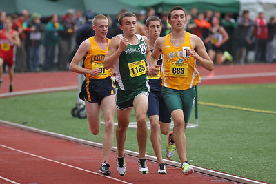 Chris Allen of King Phillip leads eventual winner Collin Bennie of Wachusett in the early laps of the 2 mile at the 2012 Mass State Open Championships